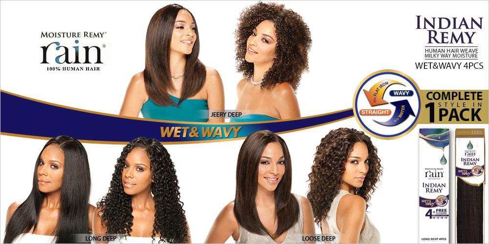 Milky Way Indian Remy Human Hair Weave Moisture Rain Wet Wavy Jerry Curl 4pcs Samsbeauty