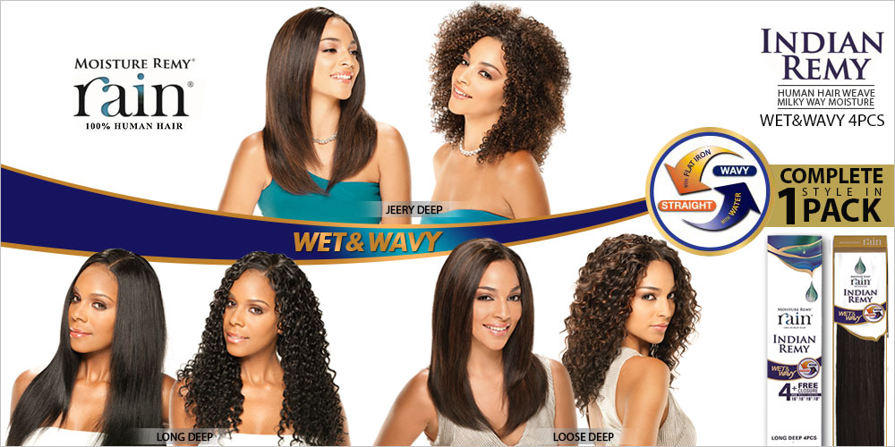 Milky Way Indian Remy Human Hair Weave Moisture Remy Rain Wetwavy