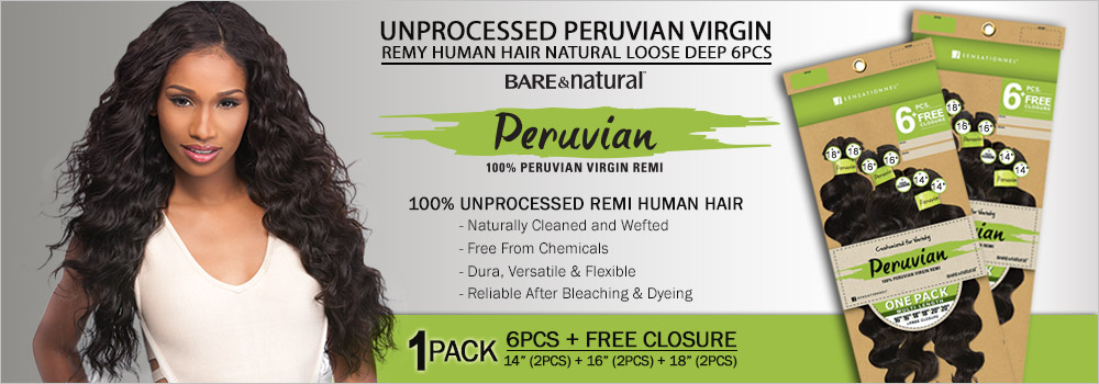 Sensationnel Unprocessed Peruvian Virgin Remy Human Hair Weave Bare