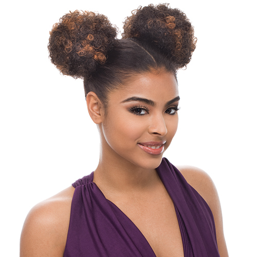 Janet Collection Synthetic Hair Ponytail Noir Afro Puff 1
