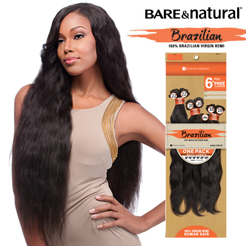 Sensationnel Unprocessed Brazilian Virgin Remy Human Hair Weave Bare & Natural Natural Yaki 90