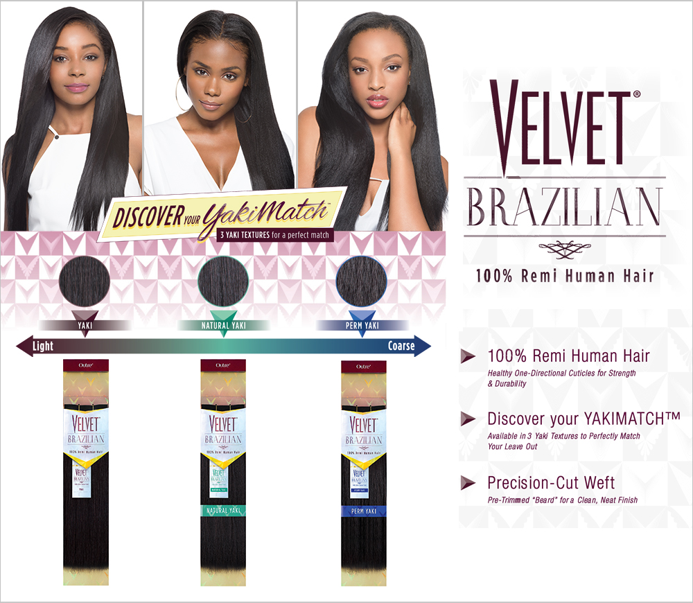 2 Pack Sale Outre Velvet Brazilian Yaki Remy Human Weaving Hair